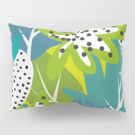 White strawberries and green leaves Pillow Sham