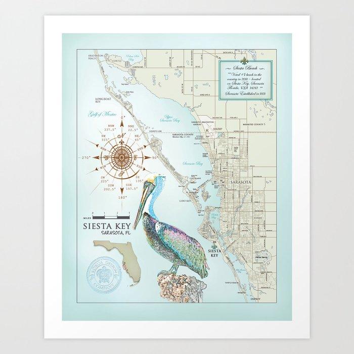 Sarasota Siesta Key Area Map Art Print By Kokuadesigncompany