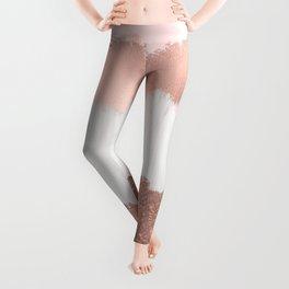 Girly Modern Rose Gold Pink Glitter Brushstroke Art Leggings