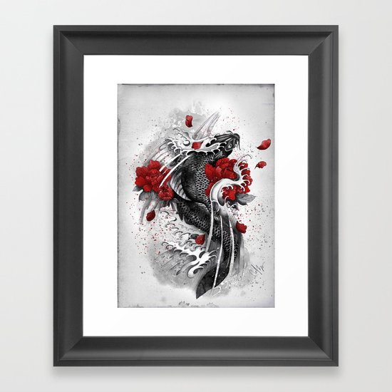 Black Koi Framed Art Print