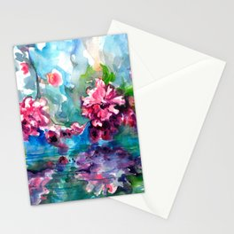 CHERRY TREE MIRRORING IN THE WATER - WATERCOLOR Stationery Cards