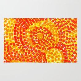 Orange, yellow and red, Swirls Abstract Rug