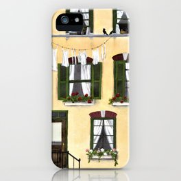 European Apartment, Clothes line, Green Shutter, Birds and Berry Studio iPhone Case