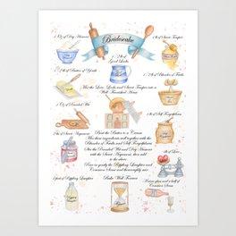 Bridescake Illustrated Recipe Art Print