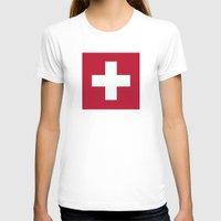 switzerland T-shirts featuring Switzerland Flag  by Laura Ruth