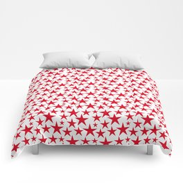 Red stars on white background illustration Comforters