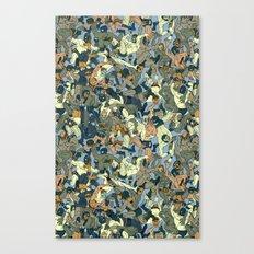 Lucha Pattern(blue&orange) Canvas Print