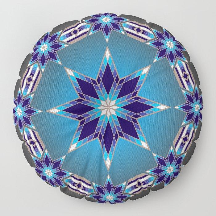 Morning Star Circle (Blue) Floor Pillow