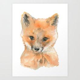 Baby Fox Face Watercolor Art Print