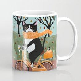Tuxedo Cat Autumn Bicycle Ride Coffee Mug