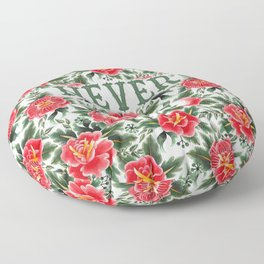 Never Beg - Vintage Floral Tattoo Collection Floor Pillow