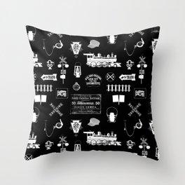 Railroad Symbols on Black Throw Pillow