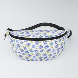 Summer Plums Pattern White Fanny Pack