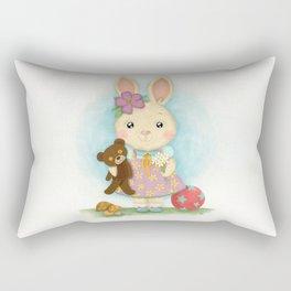 Cute bunny with teddy bear Rectangular Pillow