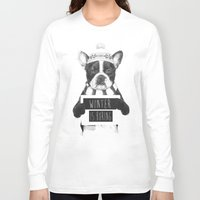 snowboarding Long Sleeve T-shirts featuring Winter is boring by Balazs Solti