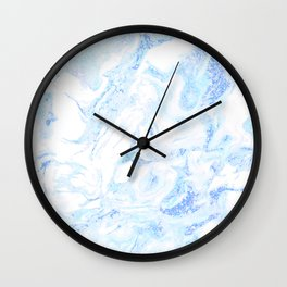 White Marble with Pastel Blue Purple Teal Glitter Wall Clock