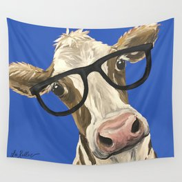 Cute Cow With Glasses, Blue Glasses Cow Wall Tapestry