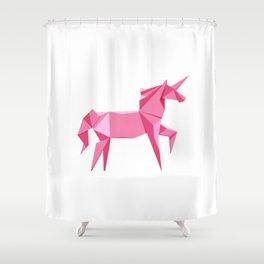 Origami Unicorn Shower Curtain
