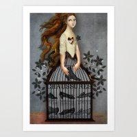 cinderella Art Prints featuring Cinderella by Catrin Welz-Stein