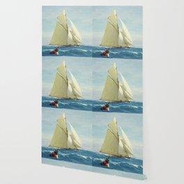 Vintage Sailing Sloop Yacht Painting (1910) Wallpaper