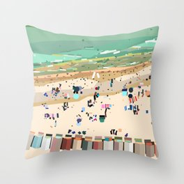 Geometric Brighton Beach bathing boxes, Melbourne, Australia Throw Pillow