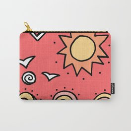 Doodle Art Drawing - Seagulls Rocks and Waves - Coral Pink Carry-All Pouch