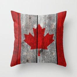 Canada flag on heavily textured woodgrain Throw Pillow