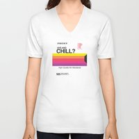 chill V-neck T-shirts featuring VHS and Chill by Anthony Troester