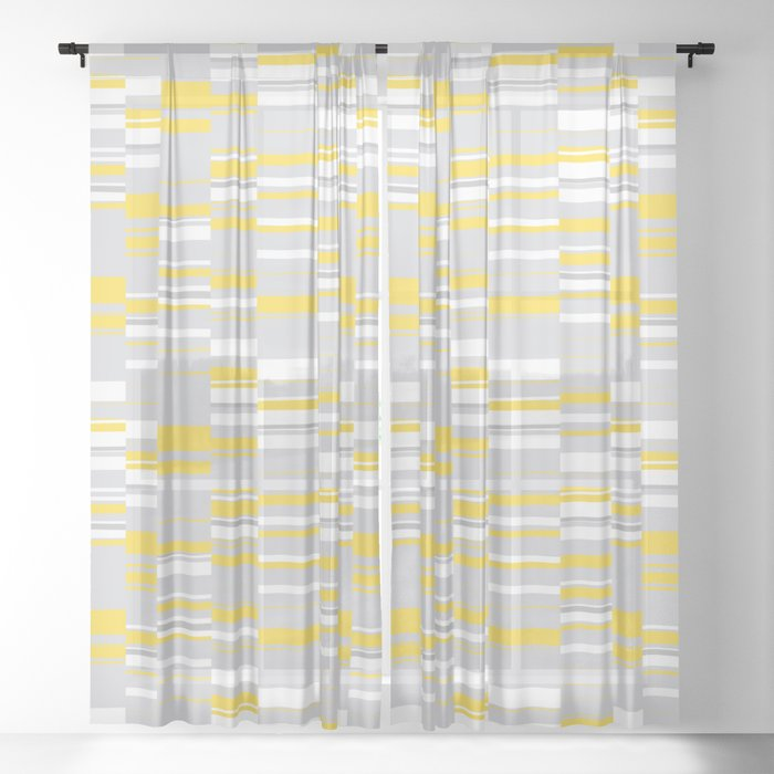 Mosaic Rectangles In Yellow Gray White Design Society6 Artprints Sheer Curtain By Menegasabidussi
