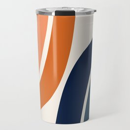 Abstract Shapes 35 in Burnt Orange and Navy Blue Travel Mug