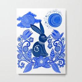 Blue Rabbit Metal Print