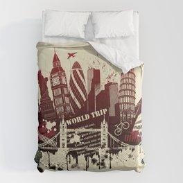 figures on international sites in grunge illustration Comforters