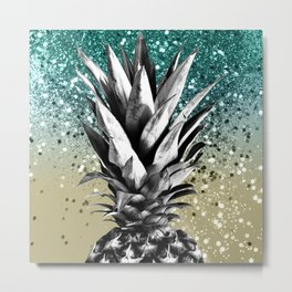 Pineapple Lemon Twist Glitter Glam #1 #tropical #fruit #decor #art #society6 Metal Print