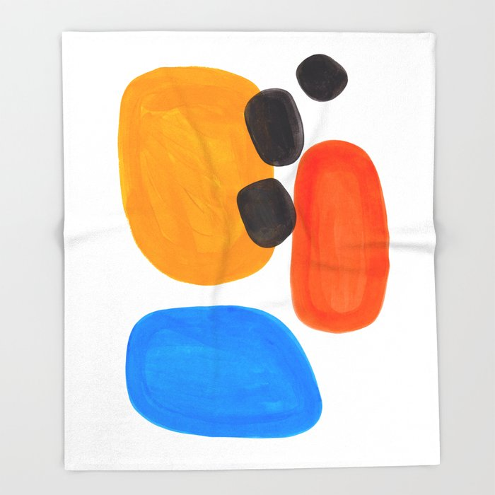 Abstract Mid Century Modern Colorful Minimal Pop Art Yellow Orange Blue Bubbles Ovals Throw Blanket