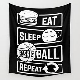 Eat Sleep Basketball Repeat - B-Ball Team Dunk Wall Tapestry