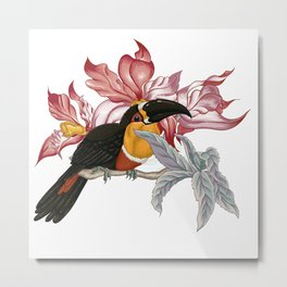 Parrot on a twig - rose Metal Print