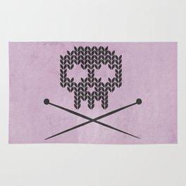 Knitted Skull (Black on Pink) Rug