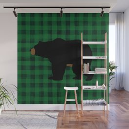 Black Bear - Green Plaid Wall Mural