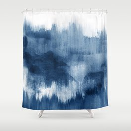 Blue watercolor brush strokes Shower Curtain