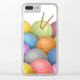 Two Crochet Hooks And A Lot Of Yarn Clear iPhone Case