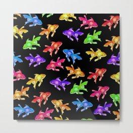 Colorful Rainbow Goldfish Pattern - Black Background Metal Print