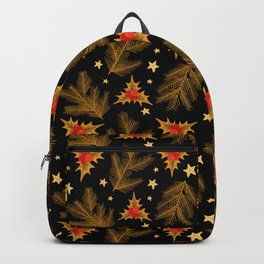 Golden Christmas Holly Berry Tree Branches Pattern Backpack