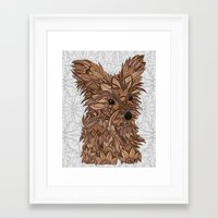yorkie Framed Art Prints featuring Cute Yorkie by ArtLovePassion