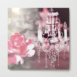 Sparkly Chandelier & Flowers Shades of Pink Metal Print
