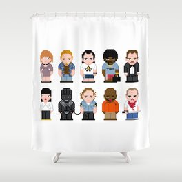 Pixel Pulp Fiction Characters Shower Curtain