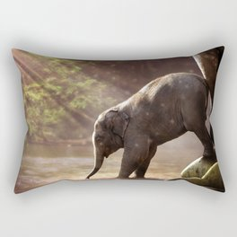 Baby Elephant & Mama at Watering Hole Rectangular Pillow
