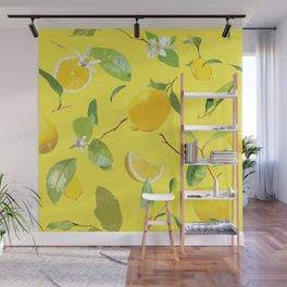 Watercolor Lemon & Leaves 3 Wall Mural