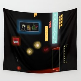 Late Night Neon Lights Wall Tapestry