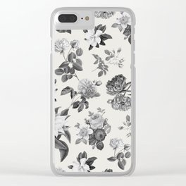Vintage flowers on cream blackground Clear iPhone Case