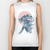 xenomorph Biker Tanks featuring Floral Alien by Marie Toh